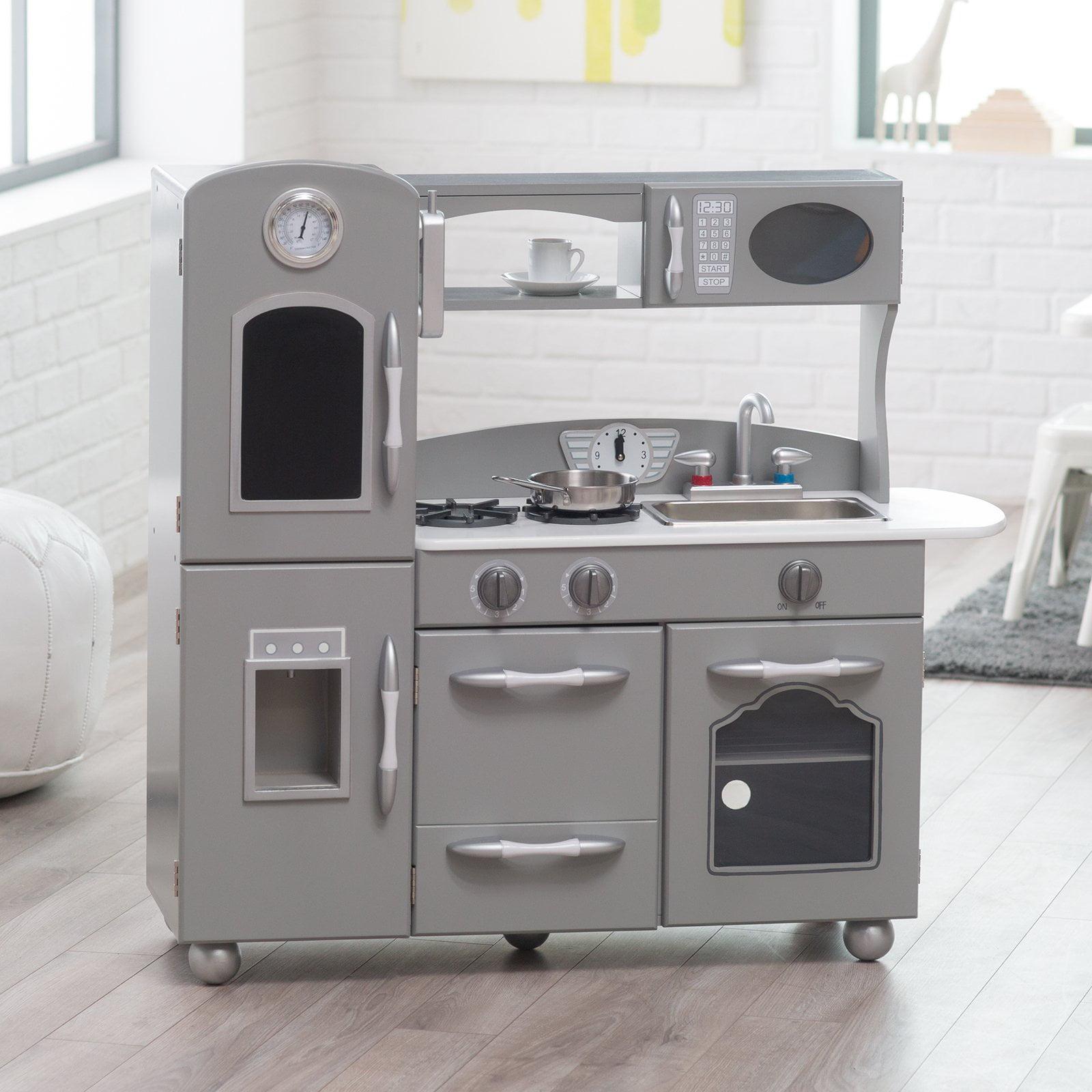 classic playtime gray wooden retro kitchen set walmartcom - Kids Kitchen