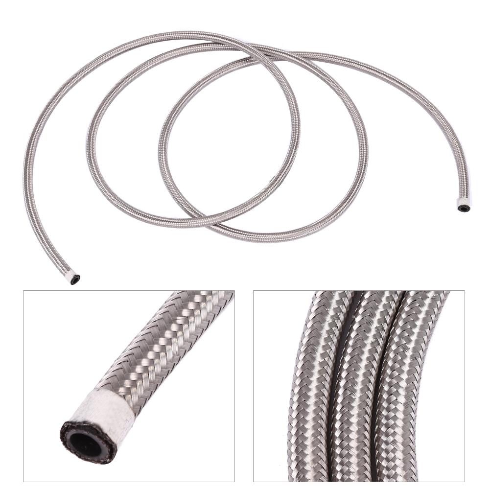 """3//8/""""  STAINLESS STEEL BRAIDED 6AN AN6 6-AN OIL FUEL LINE HOSE 10FT"""