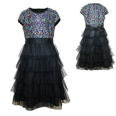 New Girl National Pageant Wedding Formal Party Black Multi Layer 4 16 Year Dress