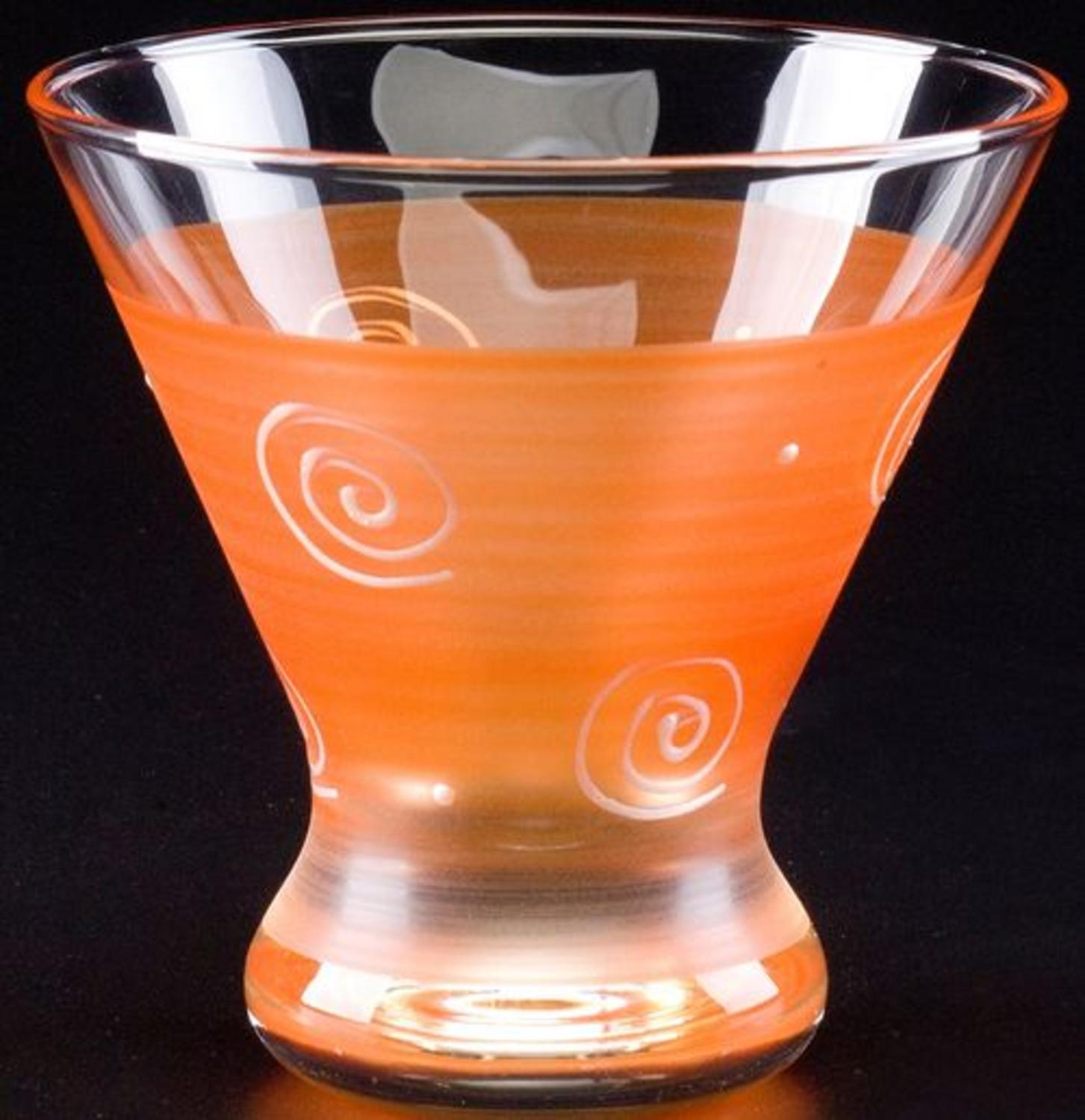 Set of 2 Orange & White Hand Painted Cosmopolitan Wine Glass - 8.25 Ounces