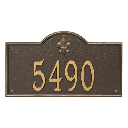 Personalized Whitehall Products Bayou Vista Estate Wall House Numbers Plaque In Bronze Gold