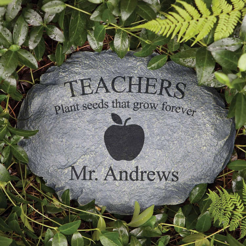 Teacher Gift - Personalized Teachers Apple Garden Stone