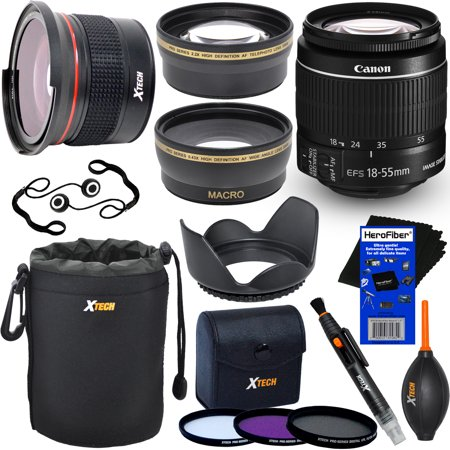 Canon EF-S 18-55mm f/3.5-5.6 IS Mark II Zoom Lens for Canon DSLR Cameras + Fisheye Lens + Telephoto & Wide Angle Lenses + 3pc Filter + 7pc Accessory Kit w/ HeroFiber® Cleaning