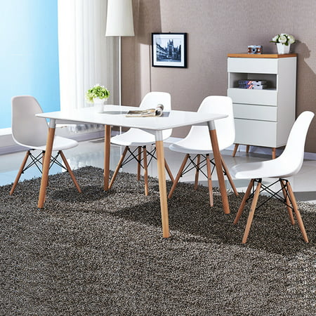 COSTWAY Set of 4 Mid Century Modern Style DSW Dining Side Chair Wood Leg ()