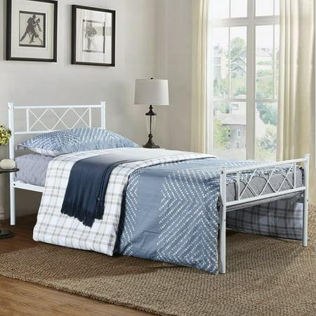 Easy Metal (Easy Set-up Premium Metal Bed Frame Platform Mattress Foundation with Headboard Under-bed Storage)