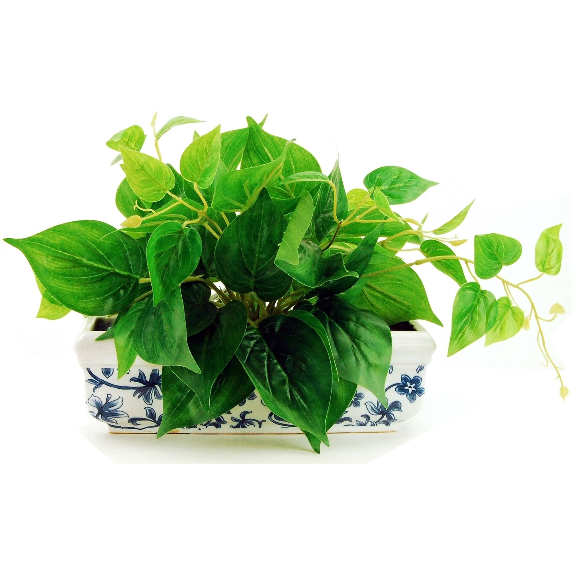 """10"""" Artificial Ivy Ledge Plant in a White Ceramic Vase with French Blue Scroll Pattern"""