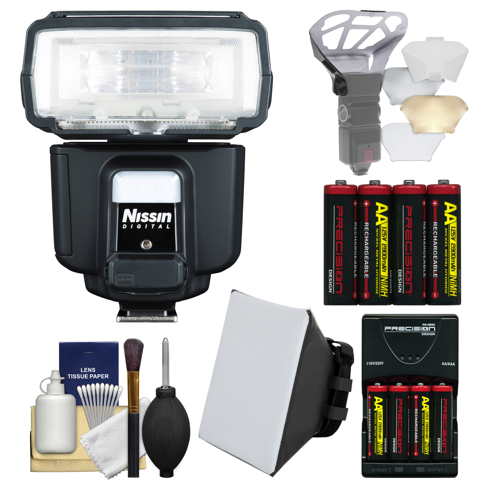 NISSIN Digital i60A Air Wireless Zoom Flash with Soft Box + Bounce Diffuser + Batteries & Charger + Kit for Canon EOS E-TTL Digital SLR Cameras