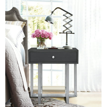 Armen Living Knight Contemporary Lamp Table in Brushed Stainless Steel Finish with Grey Top