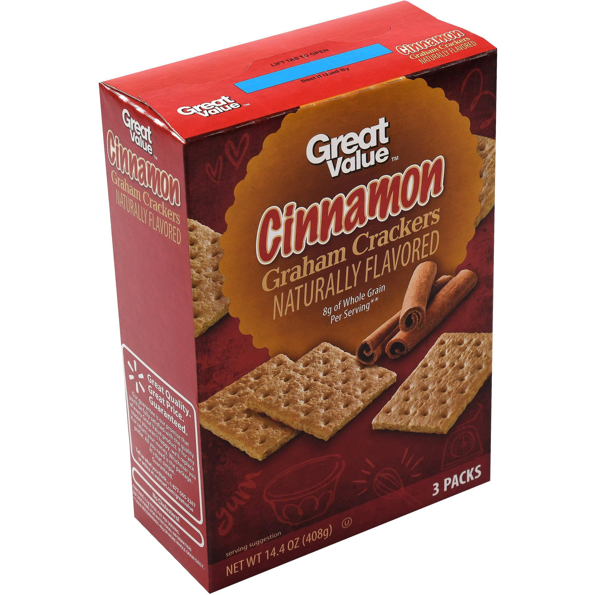 Great Value: Cinnamon Grahams Crackers 3 Packs, 14.4 Oz