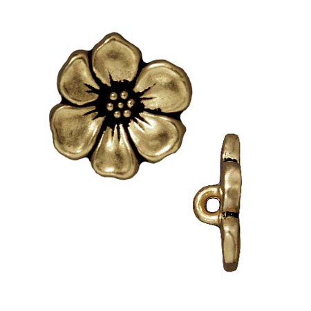Brass Oxide Finish Lead-Free Pewter Apple Blossom Buttons 19mm -