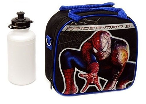 Marvel Spiderman Lunch Box Bag with Shoulder Strap and Water Bottle by