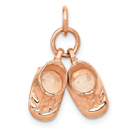 14K Rose Gold Baby Shoes Charm - image 2 of 2