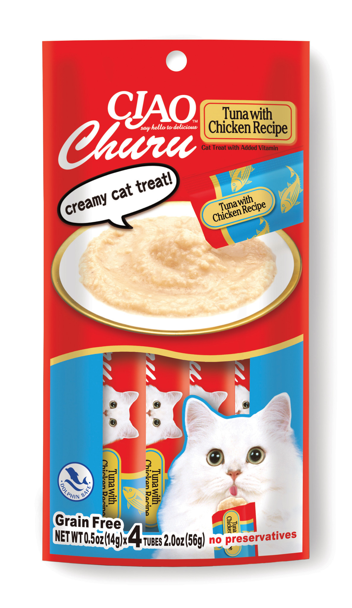 Ciao Churu Creamy Purée Cat Treats Four 0.5 oz. Tubes Tuna with Chicken Recipe by