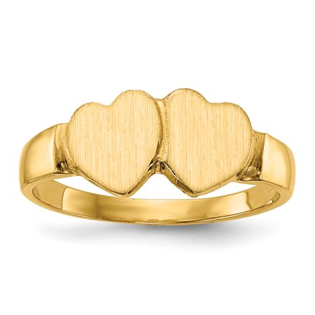 14k Yellow Gold 7.0x7.0mm Closed Back Heart Signet Band Ring Size 6.00 Gifts For Women For Her
