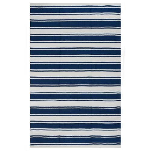 Hand-woven Indo Lucky Blue/ White Contemporary Stripe Area Rug (5' x 8')
