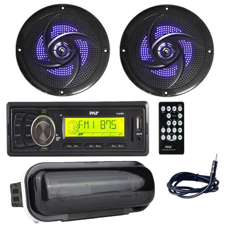 Pyle PLMR86B in-dash Marine Stereo Radio Headunit Receiver with (2) 5.25 inch 180W Low-Profile Slim Style Waterproof Rated Marine Speakers with Built-in LED Lights, Antenna, Radio Shield