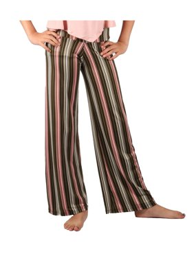 Lori & Jane Girls Pink Black Stripe Pattern Palazzo Wide Pants