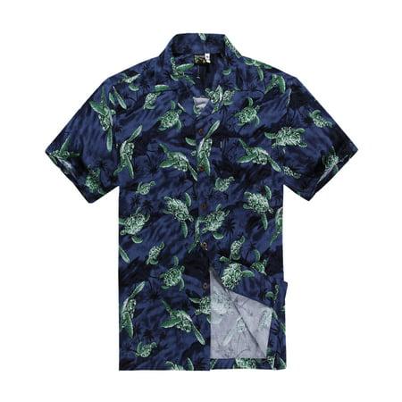 Hawaiian Shirt Aloha Shirt in Navy with Green Turtle