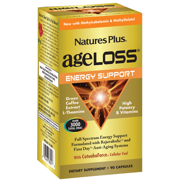 Natures Plus. AgeLoss Energy Support Capsules 90 Tablets. Gluten Free. Vegetarian