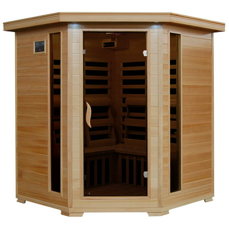Radiant Saunas Radiant Saunas FAR Infrared Hemlock Sauna Room for 4 with 10 Low-EMF Carbon Heaters, Chromotherapy Lighting, Air Purifier, and Audio System ()