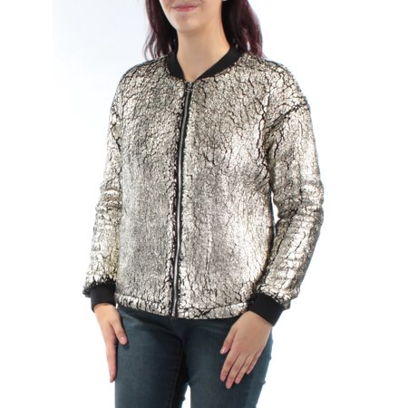 GUESS Womens Gold Zip Up Jacket  Size: M