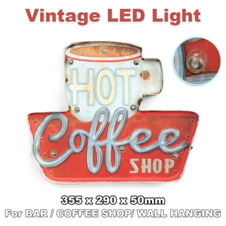 355 x 290 x 50mm Hot Coffee Shop LED Metal Vintage Light Sign Bar Cafe Club Wall Hanging Decor ()