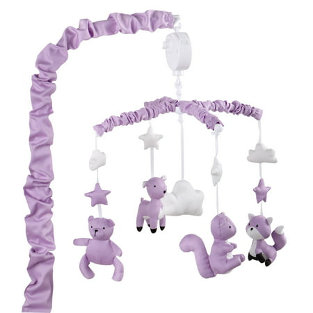 Purple Digital Musical Crib Mobile With Forest Animals by The Peanut Shell - Baby Girl Nursery Decor