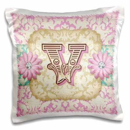3dRose Regal Pastel Mod Damask Monogram Initial V, Pillow Case, 16 by 16-inch