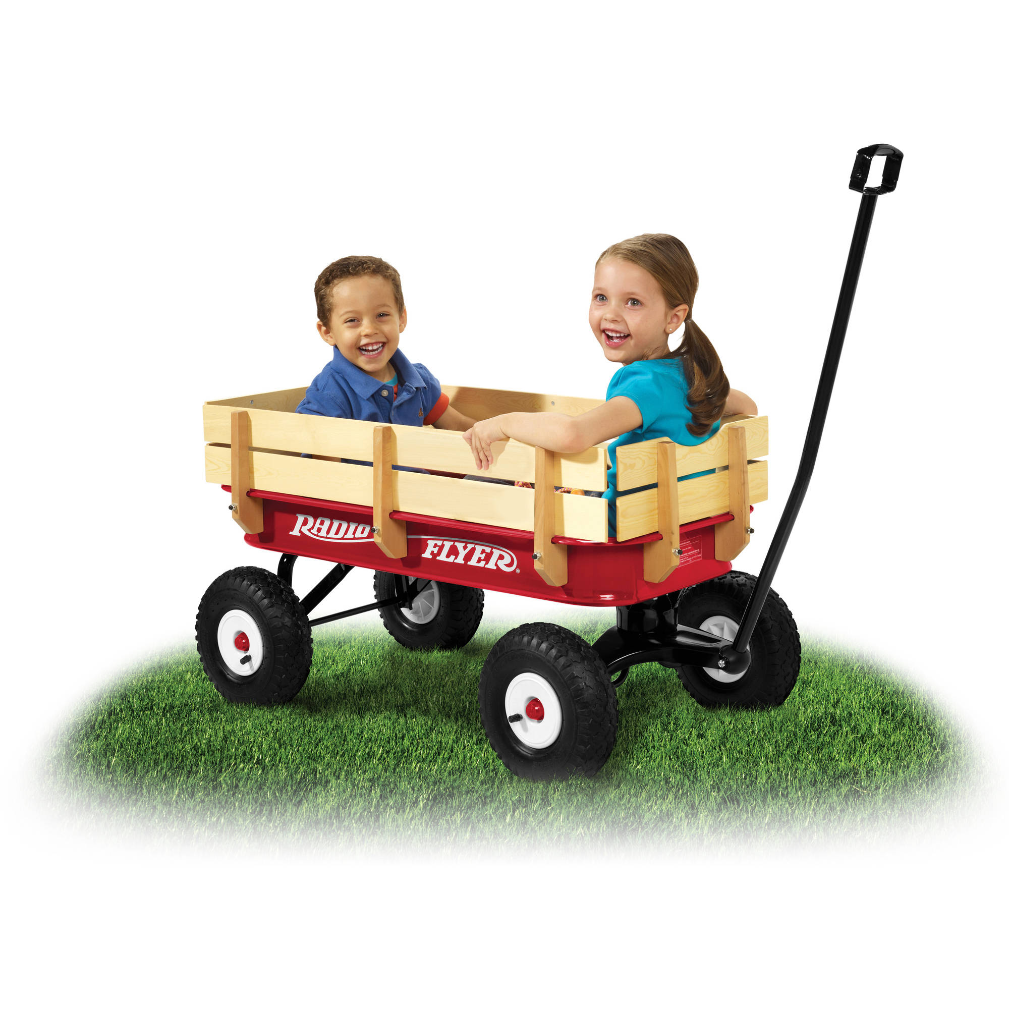 radio flyer, all-terrain steel & wood wagon, air tires, red