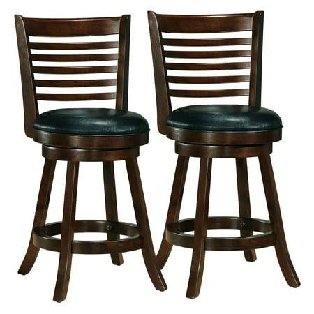 Woodgrove Cappuccino Stained Counter Height Barstool with Bonded Leather Seat, Set of 2