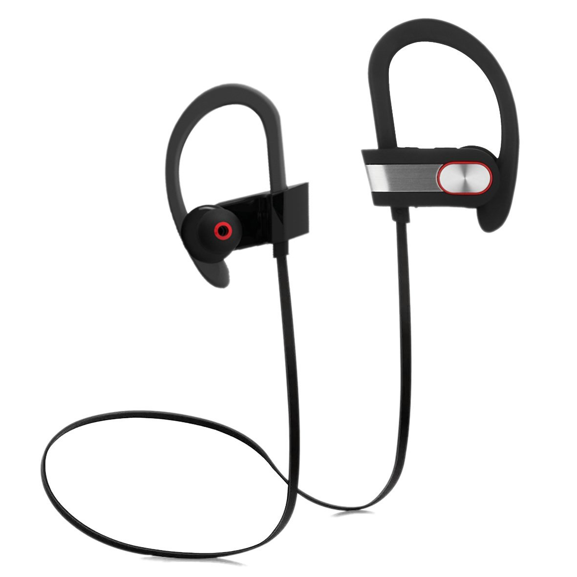 Over-Ear Bluetooth Headphone Wireless Sport Headset Sweatproof Earbud Behind-Ear Secure Comfort Fit, Crystal Clear Sound with Strong Heavy Bass, iPhone Android Compatible, Hands-Free Calling Mic
