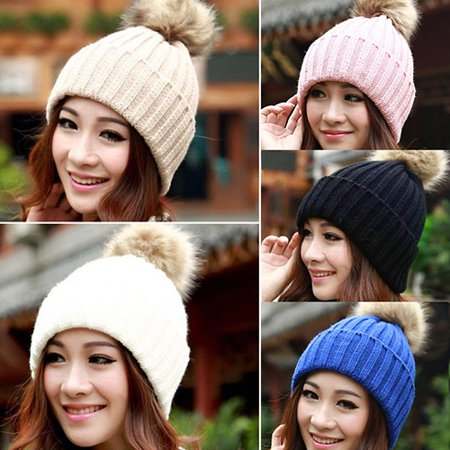- HiCoup Women Winter Warm Braided Crochet Knitting Hat Girl Beret Ski Beanie Ball Cap