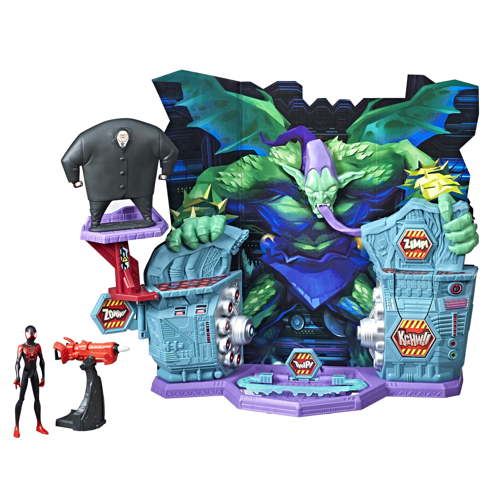Spider-Man: Into the Spider-Verse Super Collider Playset Toy with Miles Morales Figure with Kingpin Villain Piece