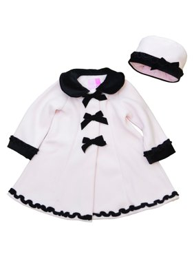 Good Lad Toddler and 4/6X Girls Pink Fleece Coat with Velvet Collar, Cuff, Bows, Trim, and Matching Hat