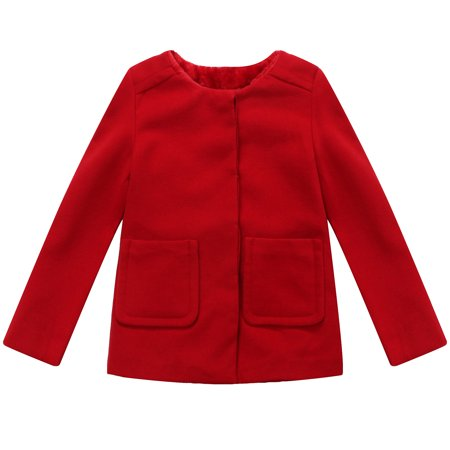 Richie House Little Girls Red Straight Pockets Back Pleats Sweet Jacket (Straight Jacket Matte)