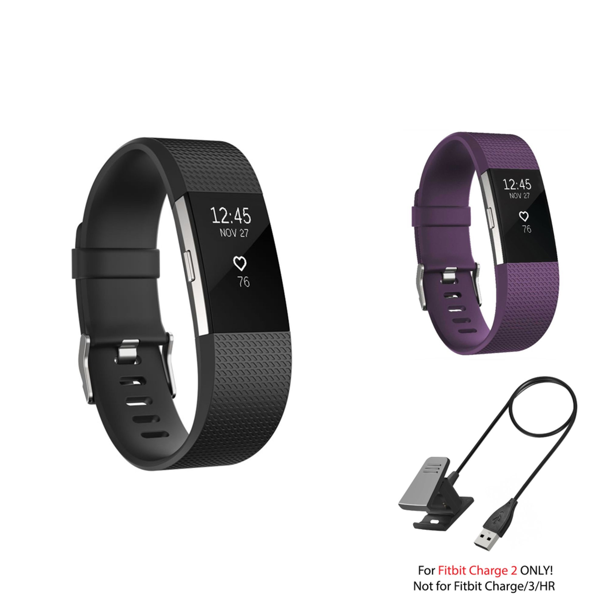 Fitbit Charge 2 Bands and Fitbit Charge 2 Charger by Zodaca 2 pack (Black & Purple) Replacement Bands Rubber Wristband Fashion Sport Strap with Metal Buckle and USB Charging Cable for Fitbit Charge 2