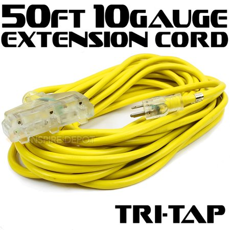 25/50Ft 10/12 Gauge industrial power Electrical Extension Cords cable tri-tap UL