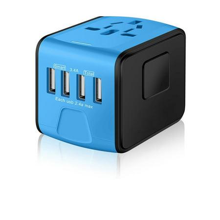 4 USB Converter Travel Adapter International Charging Charger AU / UK / US
