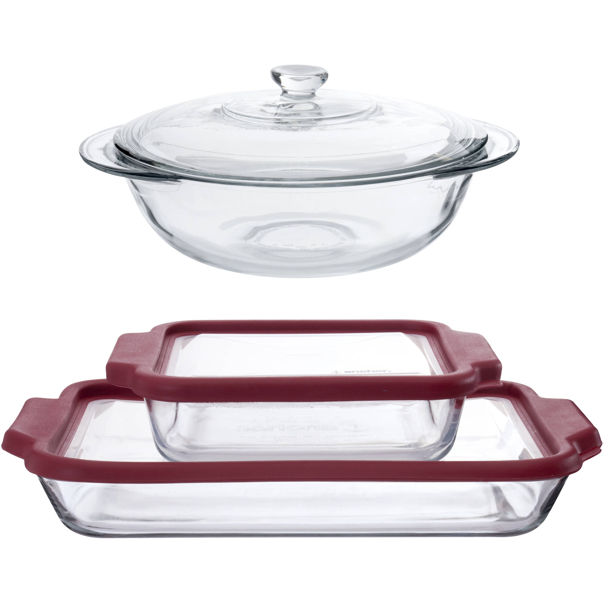 Anchor Hocking 7-Piece TrueFit Bakeware Set with Red Lids by