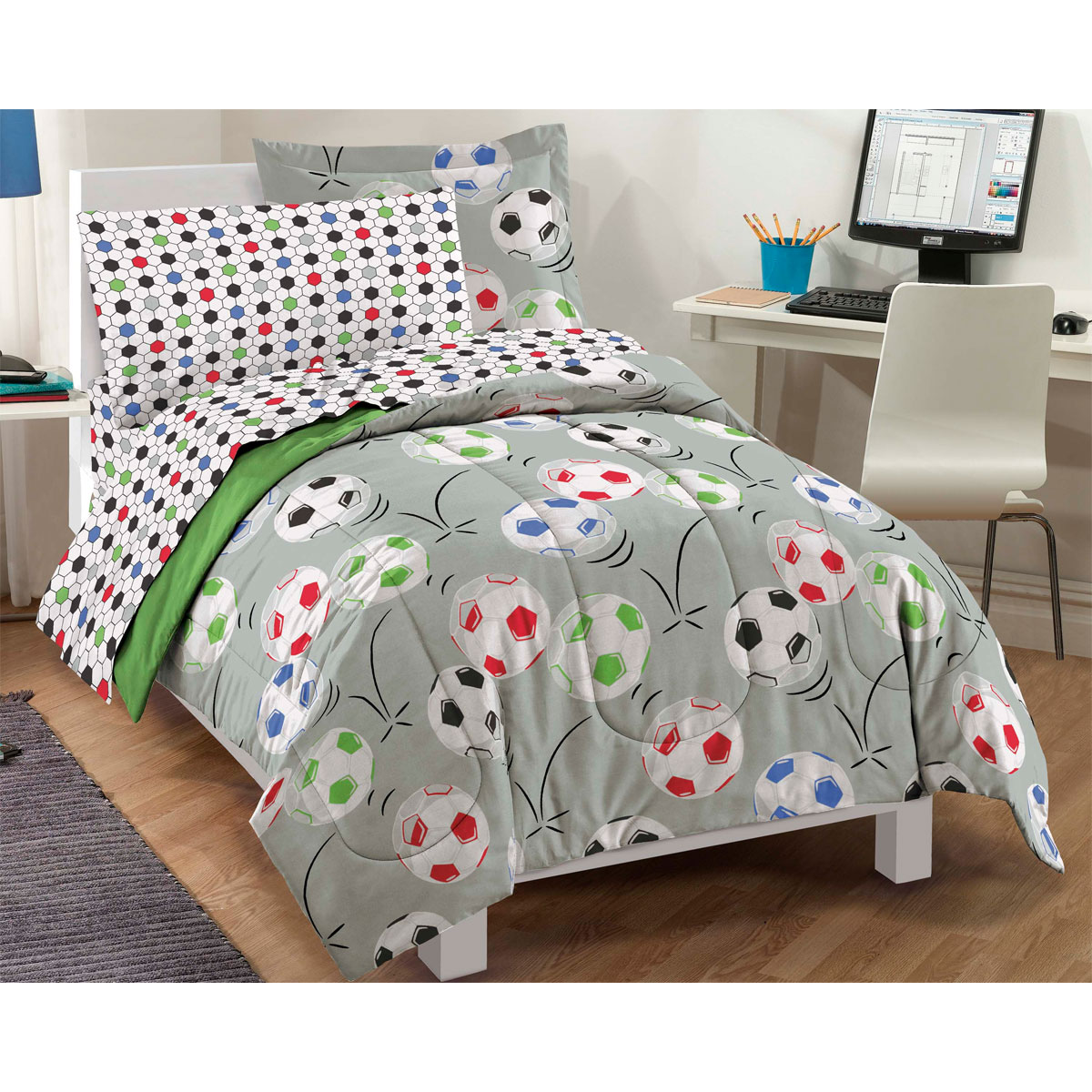 delightful Soccer Comforter Full Part - 13: Dream Factory Soccer Twin Comforter Set Multi - Walmart.com