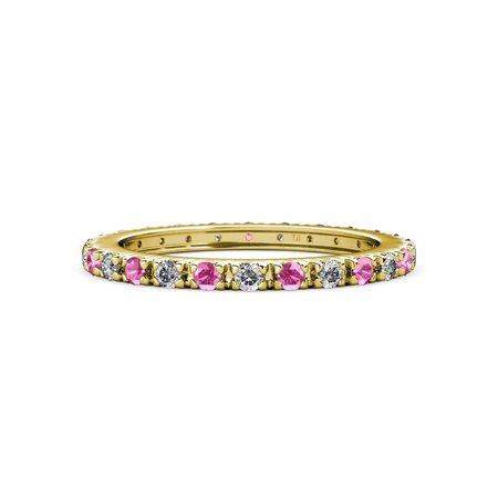2f0852d8866d87 Trijewels - Pink Sapphire and Diamond French Set Eternity Band 0.71 ct tw  to 0.86 ct tw in 14K Yellow Gold.size 4.0 - Walmart.com