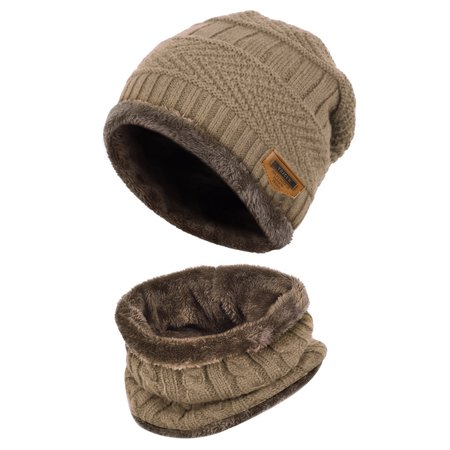b5f56d92946 Allcaca - Kids Winter Hat-Allcaca 2 Pieces set Kids Winter Knitted Hat Set  Girls Boys Winter Warm Hat and Circle Scarf with Fleece Lining - Walmart.com