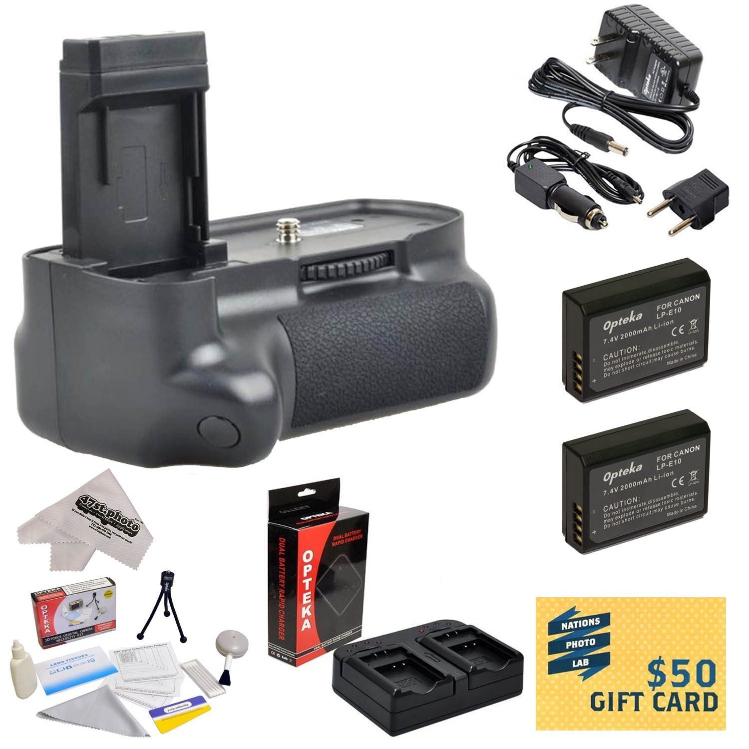 Professional Vertical Battery Grip With Sure Grip Technology For the Canon EOS Rebel T3 T5 DSLR with 2x LP-E10, Charger, Cleaning Kit, Screen Potectors, Mini Tripod, Microfiber Cloth, $50 Gift Card!