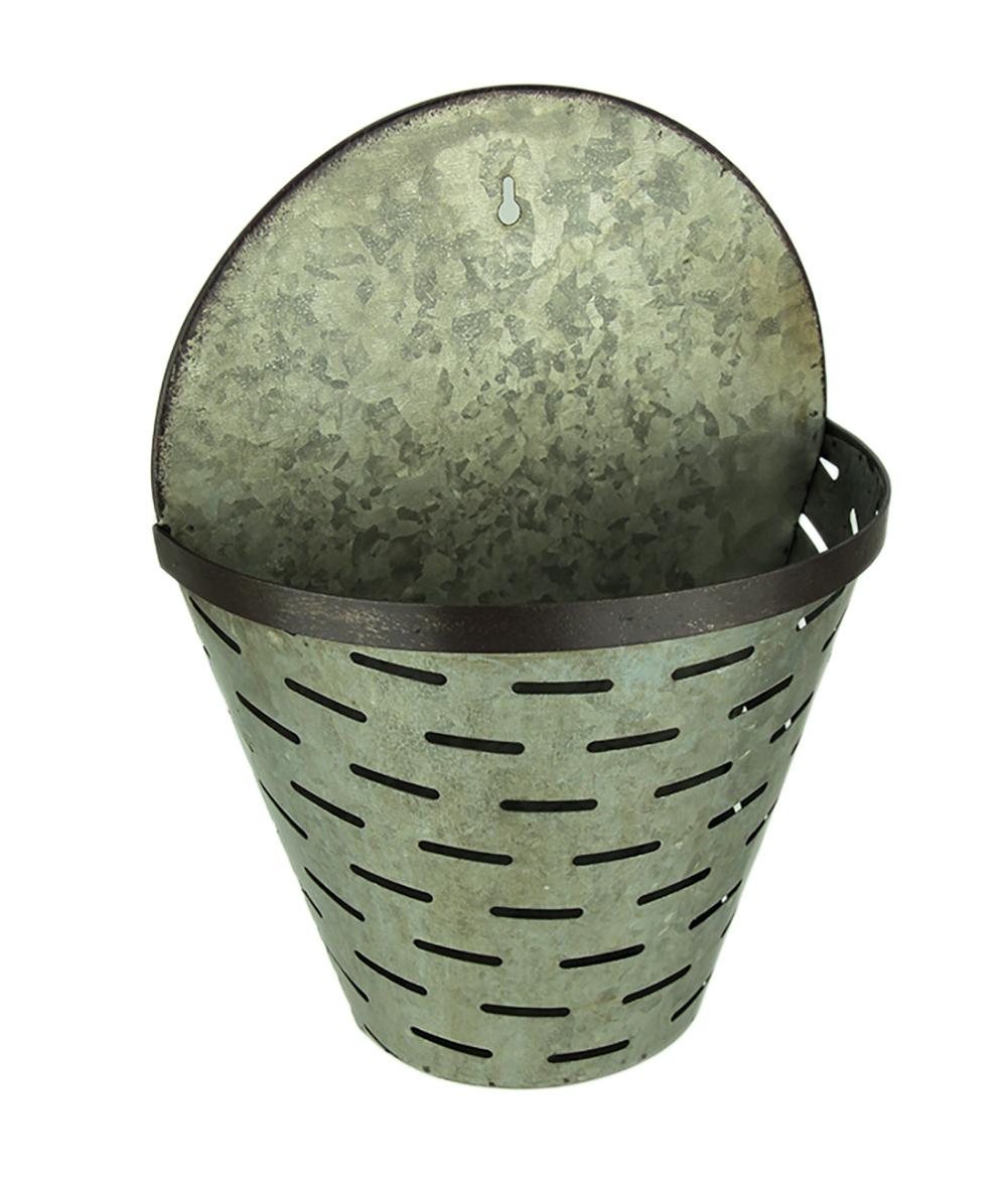 Rustic Galvanized Metal Olive Bucket Indoor Outdoor Wall Planter Walmart Com Walmart Com