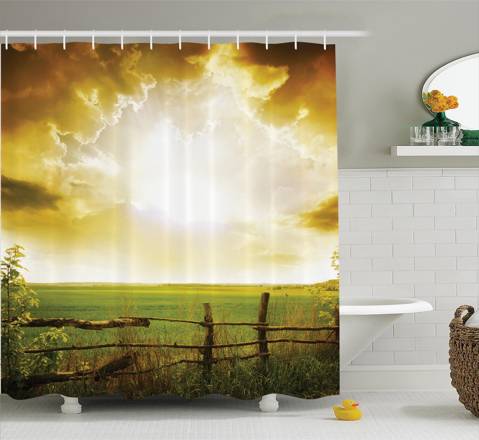 Farm House Decor Shower Curtain Set, Sunset On The Field At Summer Wooden Hedge Springtime Meadow Morning View Print, Bathroom Accessories, 69W X 70L Inches, By Ambesonne
