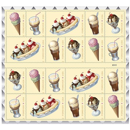 Soda Fountain Favorites 1 sheet of 20 USPS Forever First Class Postage Stamp Parties Celebrations Weddings Showers Icecream (20 Stamps) (Party Fountain)