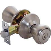 ProSource Tulip Entry Knob Lockset, Keyed Alike, K3 Key, Satin Stainless Steel