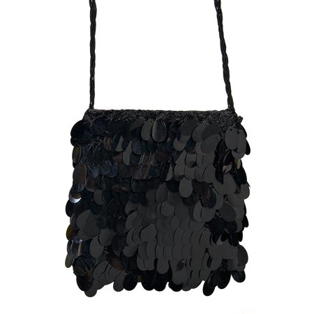 Sequin Flapper Purse Black, Ladies flapper handbag By Forum Novelties - Novelty Purses