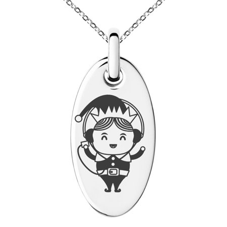 Stainless Steel Music Elf Engraved Small Oval Charm Pendant Necklace - Elf Jewelry