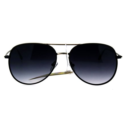 Metal Rim Luxury Sport Designer Fashion Aviator Sunglasses Black Gold Smoke ()